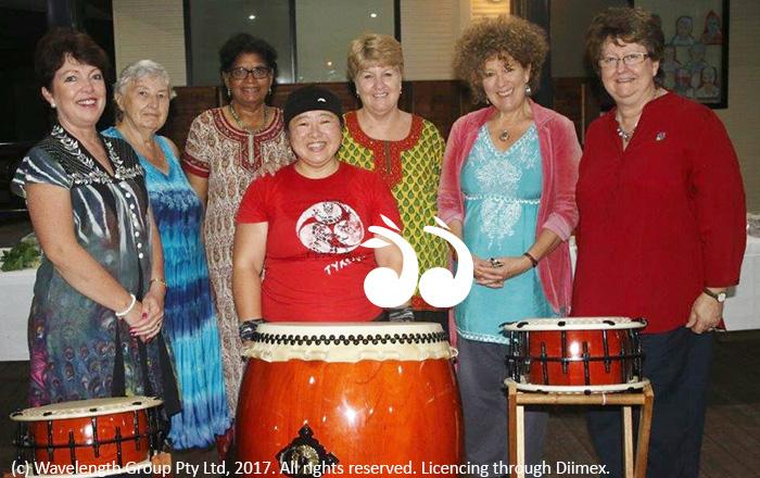 Japanese drumming was aa big hit at the multi-cultural dinner: L-R: Jan Kelaher, Bettina Cummins, Elizabeth Walter, Lee Watts, Cr Sue Abbott and Kerri Cone. Front: Kiyomi Calwell.