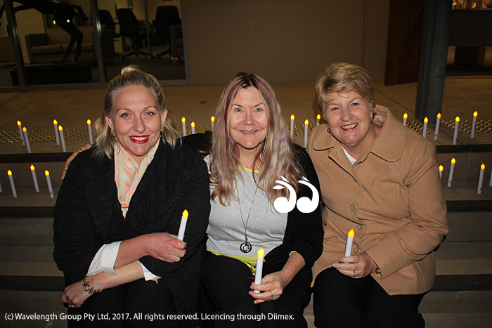 Joplin Higgins, Lenore Little and Lee Watts at the first vigil held in Scone for victims of domestic violence.