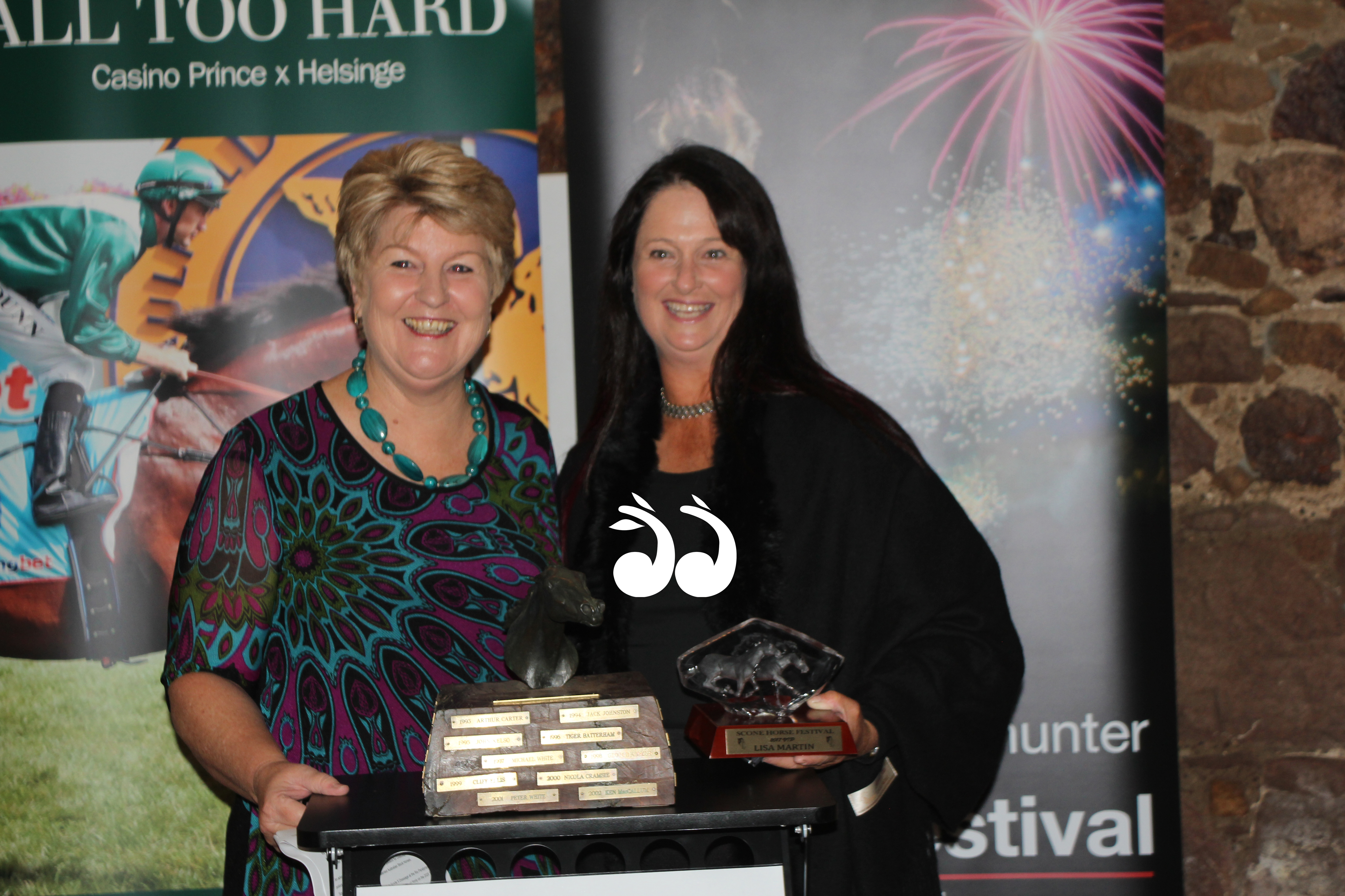 Lee Watts president of the Scone Horse Festival committee with 2017 VIP Lisa Martin.