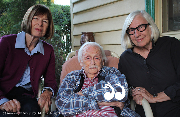 Sandra Holdsworth, Kelly Thirft and Jill Haug together at home for Kelly's 104th birthday.