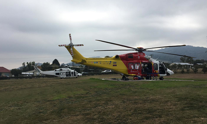The Westpac Rescue Helicopter and a Sydney based machine at the Scott Memorial Hospital, Scone.