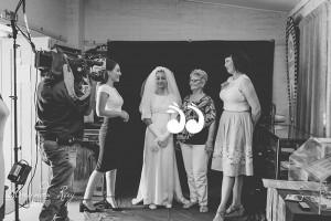 Bridget Murphy, ABC journalist with Jorga Davis wearing her grandmother's wedding gown, Maureen Murray and Rebecca Bowman. Photo: Amanda Ray Images.
