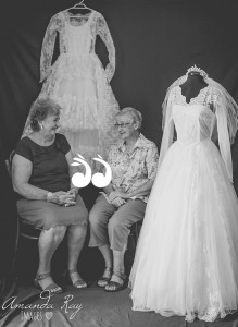 """Local girls, sisters, Aileen Miller and Linley Carter. Aileen said she didn't want to change into her going away frock as she felt so like a princess in her gown. (m. Feb 1962) On her wedding day, Linley remembers her husband saying to her at the altar """"Are you alright?"""" as it was such a hot day (m. Nov 1958). Photo: Amanda Ray Images."""