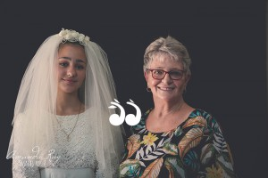 Jorga Davis with her grandmother Maureen Murray, in Maureen's wedding gown. Photo: Amanda Ray Images.