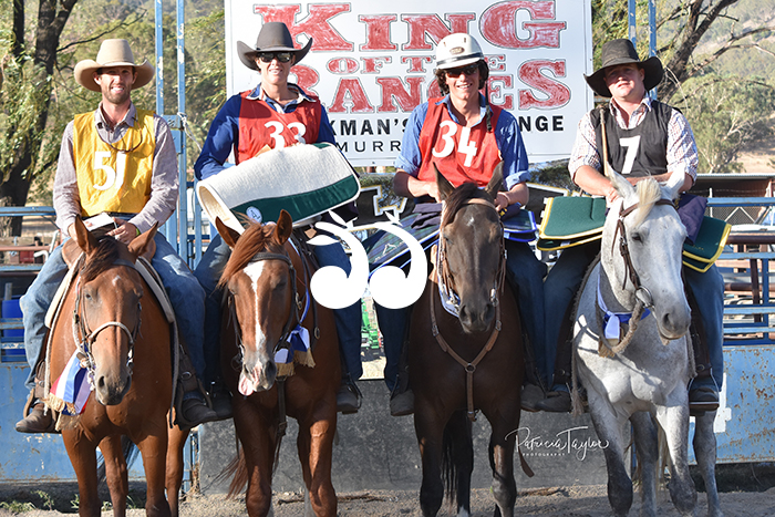 David Mitchell King of the Ranges for 2019, Emma O'Shea Ladies King of the Ranges Champion, Travis Bandy Junior Champion and Bernie McMaugh Novice Winner. Photo: Patricia Taylor Photography.