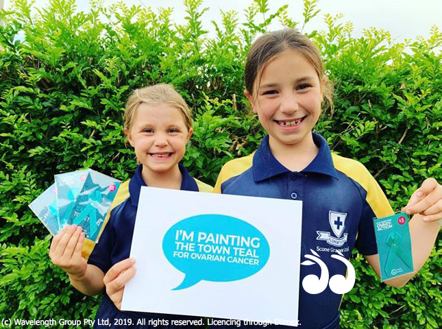 Liv and Mim Bower will be selling teal ribbons today for ovarian cancer and hope you can help.