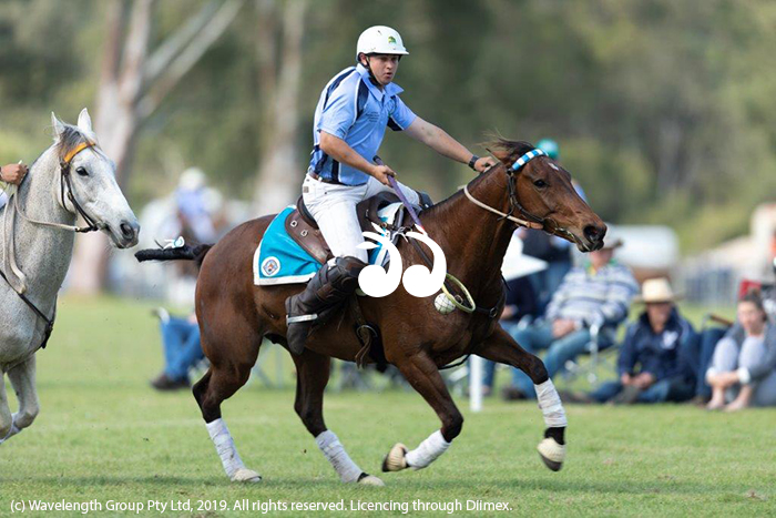 Mitch Wamsley competing in polocrosse.