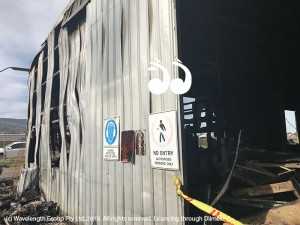 On arrival crews said the fire was concentrated in this corner of the shed, before engulfing 80 percent of the building.