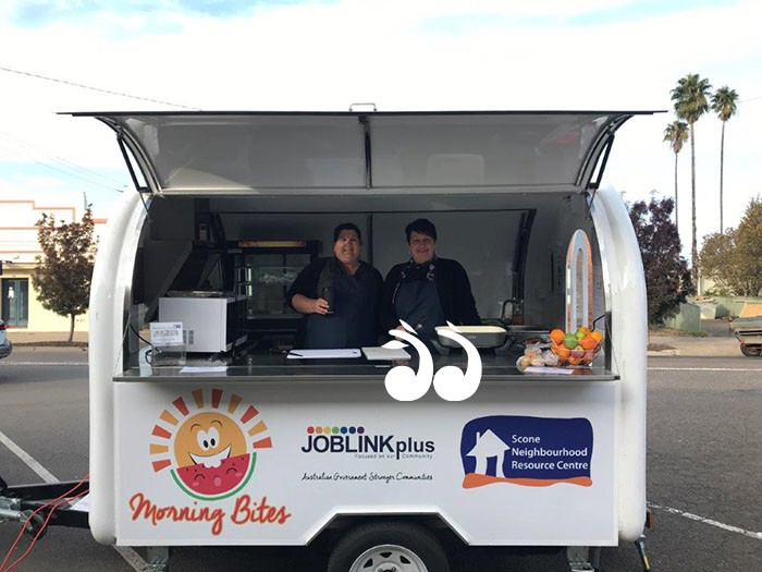 Ready to serve breakfast to local school children: Ebony Laithwaite and Jo Wilson, in the Morning Bites van.
