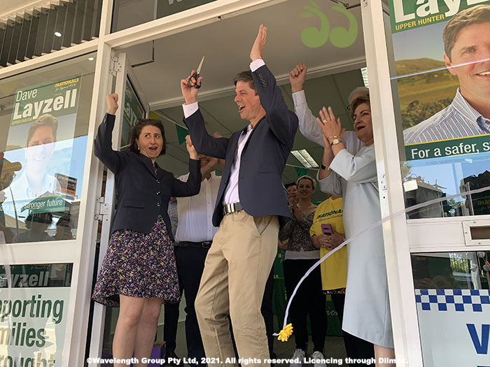 NSW Premier Gladys Berejiklian with NSW Nationals candidate for the Upper Hunter by-election David Layzell at the official opening of his office at 139 John St Singleton