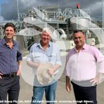 Nationals Candidate for the Upper Hunter David Layzell with farmer Jamie Alison and Deputy Premier John Barilaro